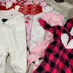 Bundle of five baby girl pajamas
